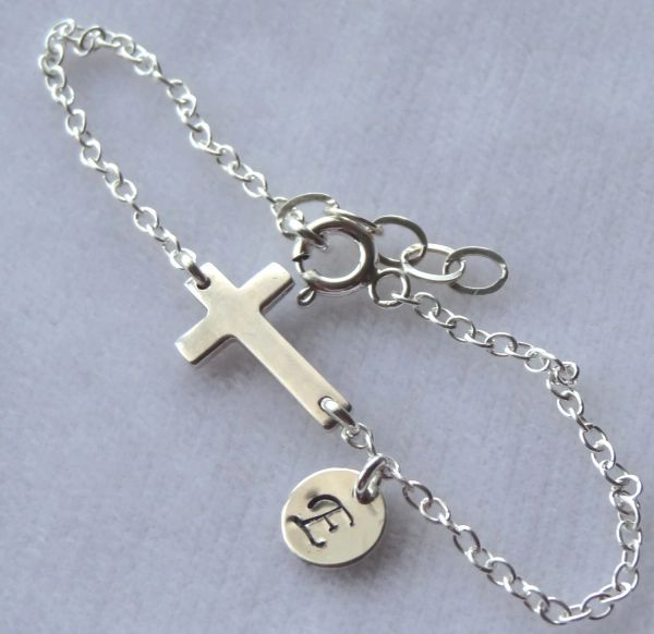 Sterling Silver Sideways Cross Confirmation Bracelet, Personalized, Monogram, Flower Girls Bracalet, First Communion, Baptism, Sideways