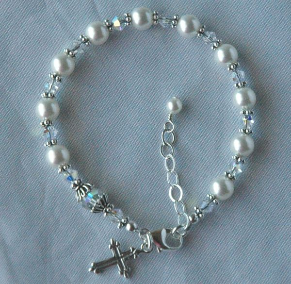 First Communion - Swarovski Crystal Pearl and Sterling Silver Rosary Bracelet - Children, Confirmation Bracelet
