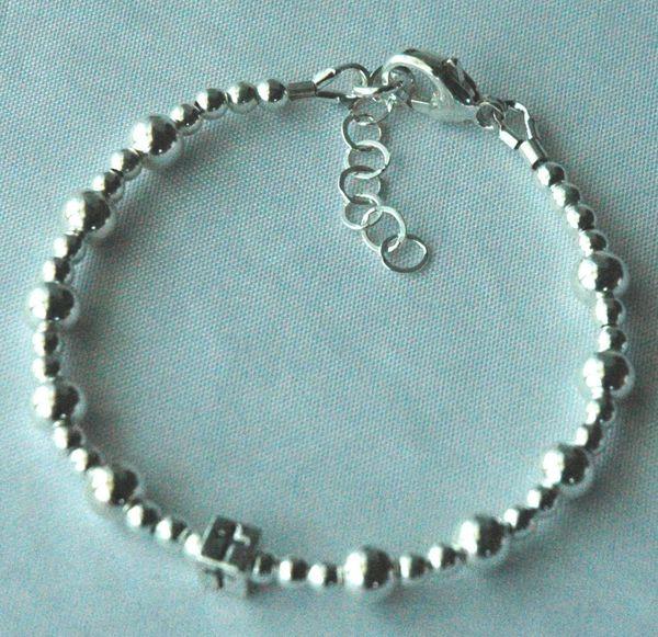 BOY - GIRL - Solid Sterling Silver Children Cross Baptism Bracelet, Baby Boy Baptism Bracelet, Initial Bracelet, Baptism Bracelet,