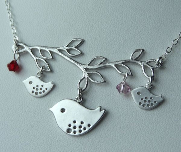 Mommy and Babies Bird Birthstone Branch Necklace, Bird Necklace, Family Necklace, Mother Jewelry, Birthday, Babyshower gift