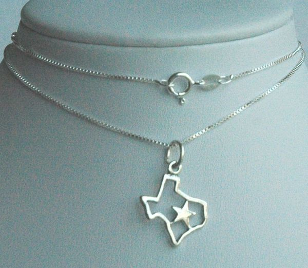 Lone Star Sterling Silver Necklace, Texas Lone Star Necklace, Map Necklace, Texas Necklace
