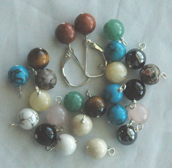 Interchangeable Sterling Silver Leverback Earrings - 6 Pairs, Interchangeable gemstone dangle