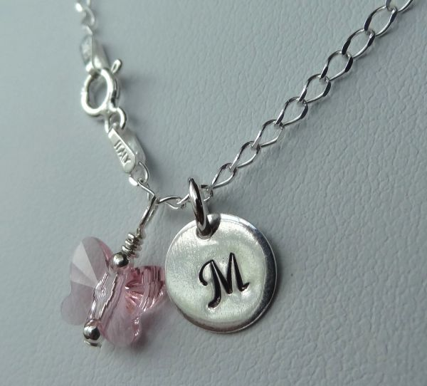 Monogram Sterling Silver Baby Children Initial Pink Butterfly Pendant Necklace, Flower Girl Initial Necklace, Butterfly Necklace