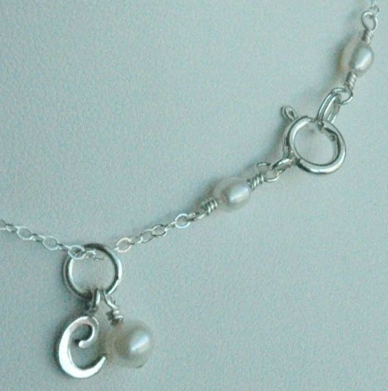 Sterling Silver Freshwater Pearl Baby Child Custom Initial Pendant Necklace, Birthstone Necklace, Personalized, Flower Girl