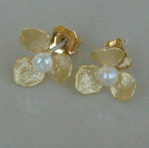 Gold Freshwater Pearl Petal Flower Stud Post Children Earrings