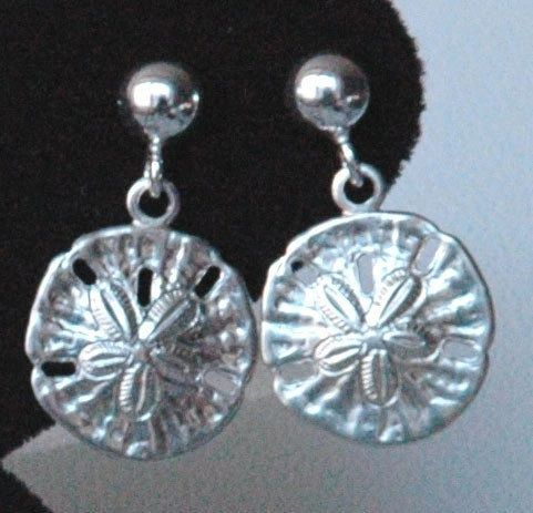 Sterling Silver Child Sand Dollar Earrings, Beach Wedding Earrings, Sand Dollar Earrings, Beach Jewelry, Flower Girl Earrings