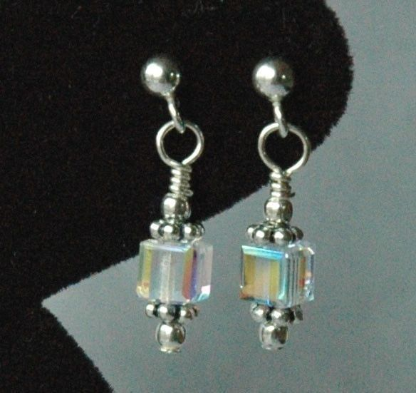 Swarovski Crystal AB Cube Kids Silver Post Earrings
