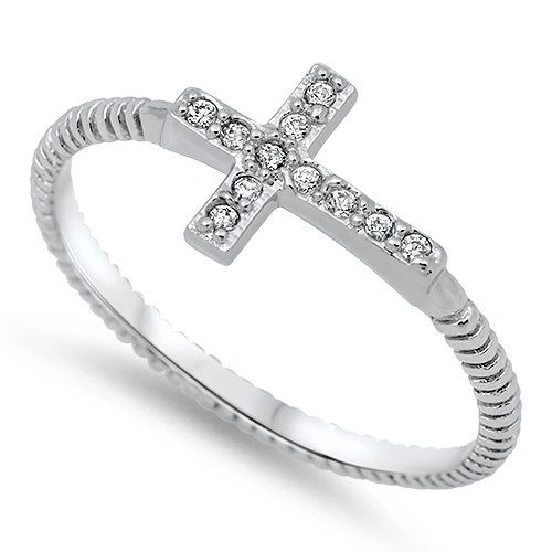 Sterling Silver Cross Cubic Zirconia Ring, First Communion Ring, Confirmation Ring, Cross Ring, Religiuos Jewelry, Child's Ring US 4