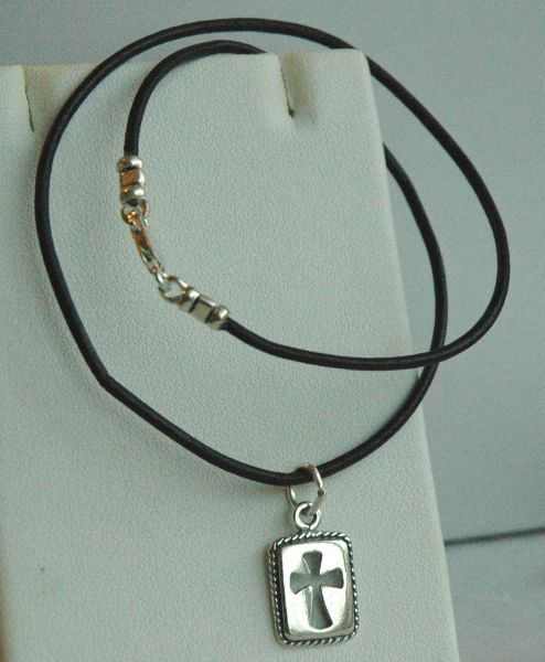 Leather and Sterling Silver Rectangle Cross Necklace Choker - Boy, Kids