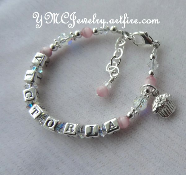 Personalized Sterling Silver and Swarovski Crystal Name Children Bracelet, 1st Year Bracelet,