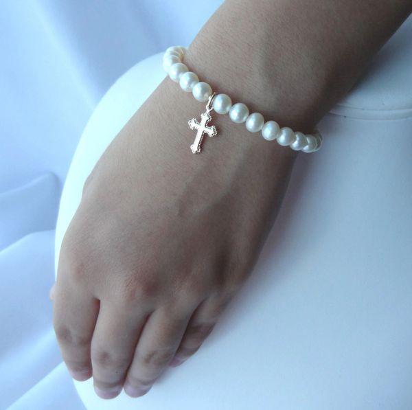 Gold Freshwater Pearl Baby Bracelet, Freshwater Pearl Bracelet, Gold Cross Bracelet, Flower Girl Bracelet, First Communion Bracelet