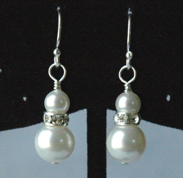 Swarovski Crystal Pearl Earrings, Bridesmasis Earrings, Bridesmaids Gift Earrings