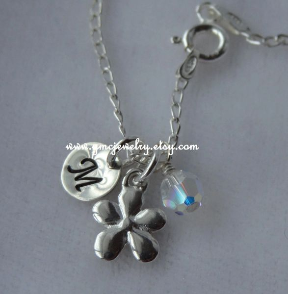 Flower Girl Necklace - Sterling Silver Personalized Flower Initial Necklace, Birthstone Necklace, Personalized Jewelry