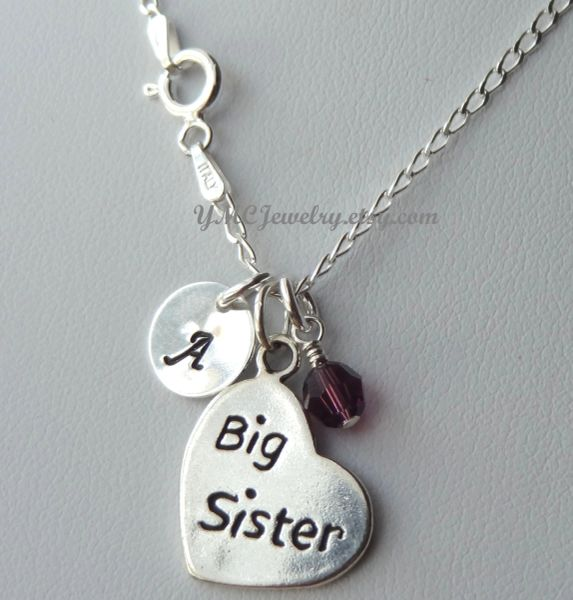 Sterling Silver Big Sister or Little Sister Birthstone Initial Necklaces, Monogrammed Necklace, Birthstone, Big Sister Necklace