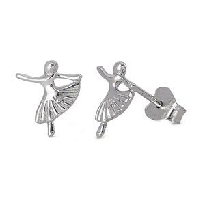 Sterling Silver Ballet Dance Stud Earrings, Ballerina Earrings, Ballet Earrings, Recital Gifts