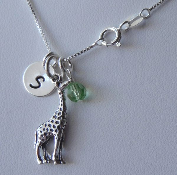 Sterling Silver Personalized Giraffe Necklace, Birthstone Necklace, Initial Necklace, New Mom Gift, New Mom Mother Necklace