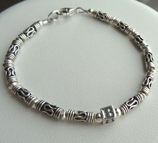 Sterling Silver Initial Bracelet, Baby Boy Bracelet, Personalized Bracelet, Baptism, Christening, Boy Bracelet