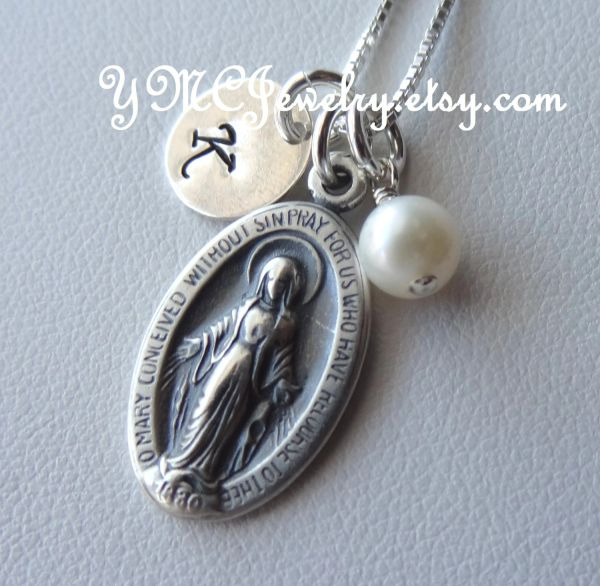 Sterling Silver Virgin Mary Personalized Necklace, First Communion Necklace, Confirmation Necklace, Christering Necklace, Initial
