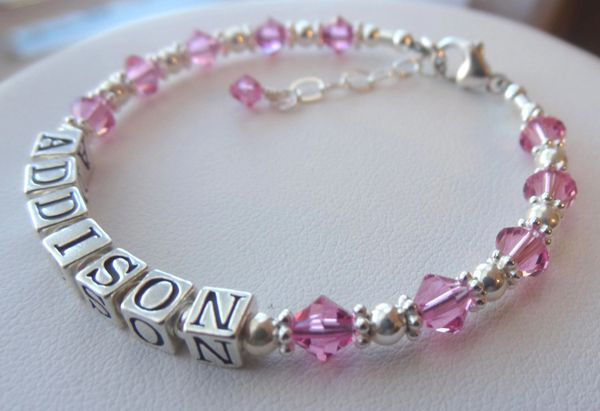 Personalized Sterling Silver and Swarovski Crystal Name Children Bracelet, Birthstone Bracelet, Baptism Name Bracelet