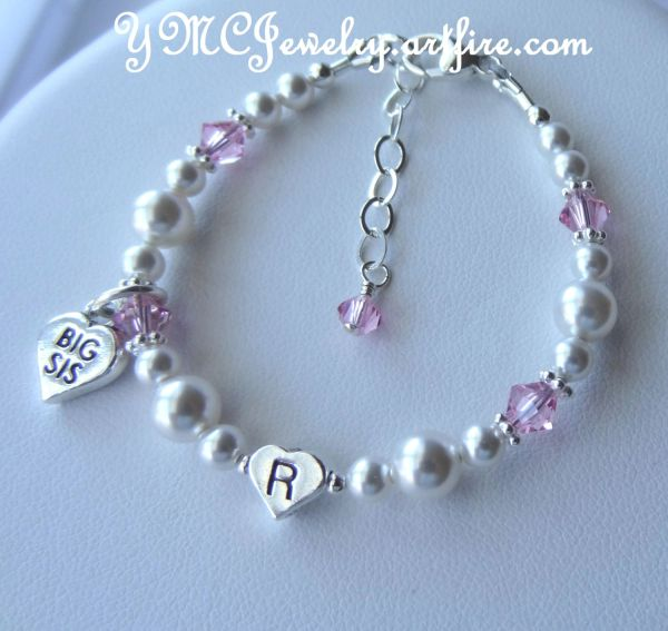 Big Sister/Little Sister Initial Heart Children Bracelet, Personalized Bracelet, Flower Girls Bracelet, Heart Big Sis Lil Sis Charm Bracelet