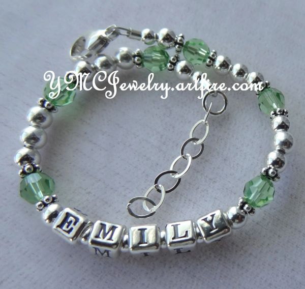 Sterling Silver Birthstone Name Bracelet, Name Children Bracelet, Baby name Bracelet, Birthstone Bracelet, Christening, First Communion