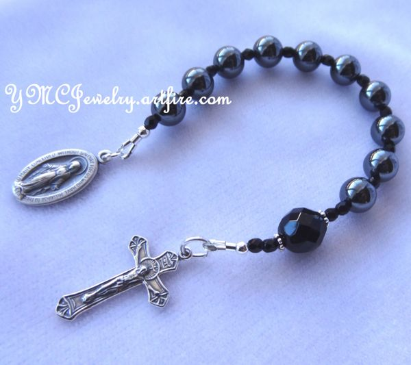 Sterling Silver Baptism Chaplet Rosary, First Communion, Godparents Present,Godparents Gift, Rosary Chaplet,Boys Confirmation,Black Chaplet