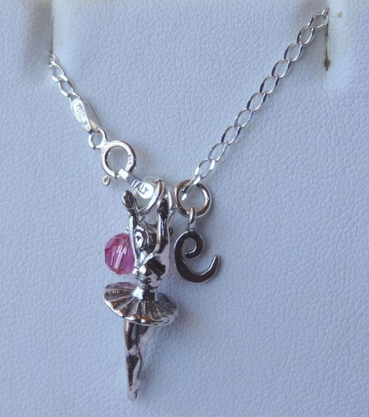 Sterling Silver Ballerina Ballet Initial Birthstone Necklace, Ballet Necklace,Recital Gifts Necklace, Dancer, Dance Jewelry