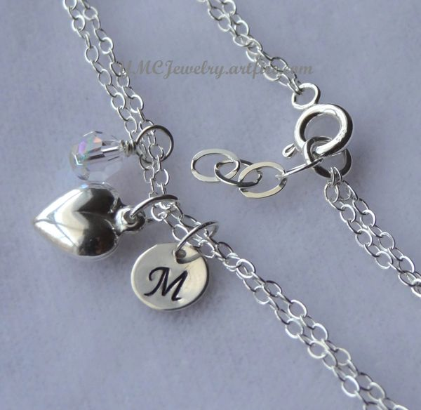 Sterling Silver Initial Birthstone and Charm Bracelet, Personalized, Monogram, Flower Girls Bracalet, First Communion, Bridesmaid Bracelet