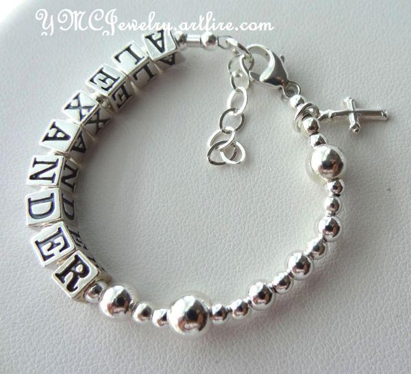 Solid Sterling Silver Baby Boy/Girl Name Baptism Personalized Rosary Bracelet, Baptism Bracelet, Christening Bracelet, Baby Girl Bracelet
