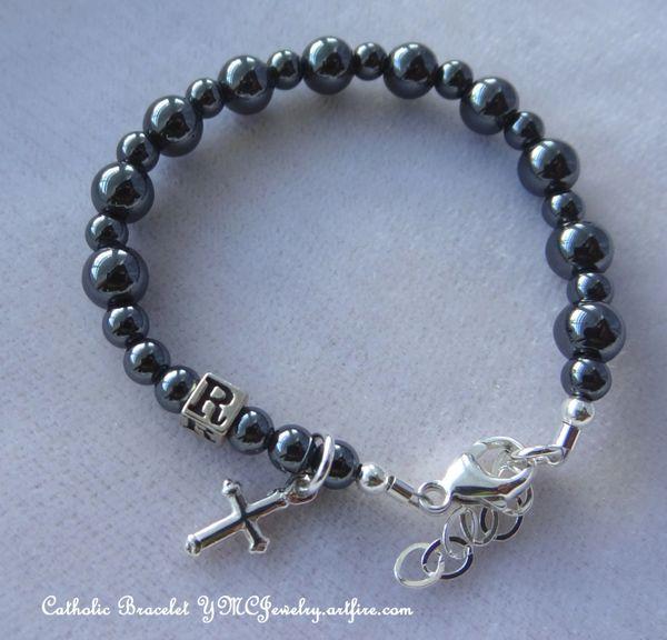 Sterling Silver Catholic Baby Boy Baptism Personalized Rosary Bracelet, Christening Boy Bracelet, Boy Chaplet Bracelet, Chaplet Bracelet