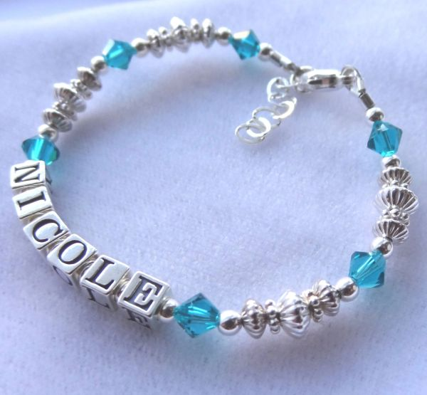 Sterling Silver Child Name Bracelet, Name Children Bracelet, Birthstone, Baptism, For niece, Personalized, Birthday ,