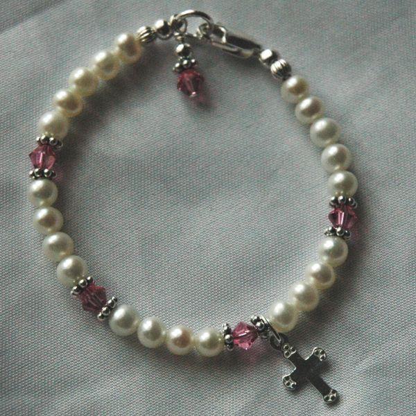 Sterling Silver Swarovski Crystal Pearls Cross Children Birthstones Bracelet, Baptism Bracelet, Baby Girl Cross Bracelet, Initial Bracelet