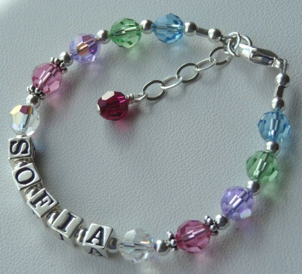 Personalized Sterling Silver and Swarovski Crystal Name Children Bracelet, Multicolor Name Bracelet