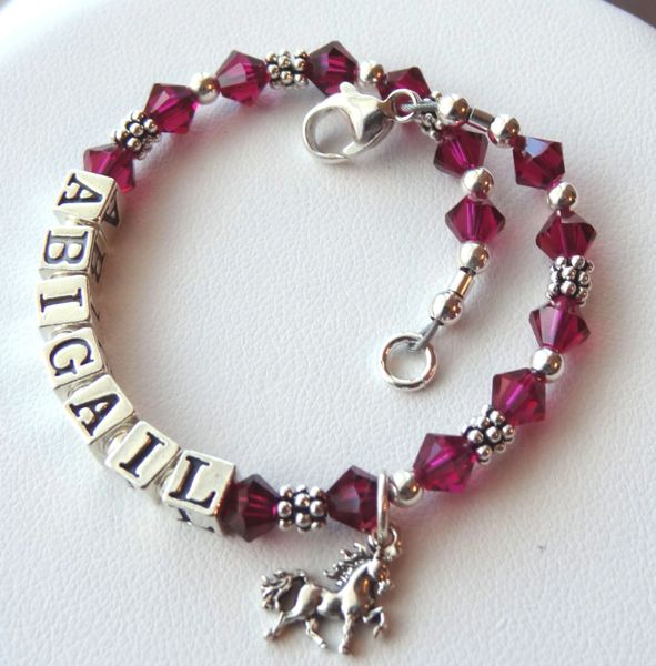 Sterling Silver Birthstone Name Children Bracelet,Baby Name Bracelet,Flower Girl Bracelet