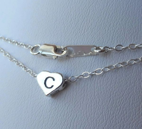 Petite Sterling Silver Initial Heart Children Necklace, Personalized, Monogram Necklace, Reversible, Initial Heart, Flower Girls Necklace