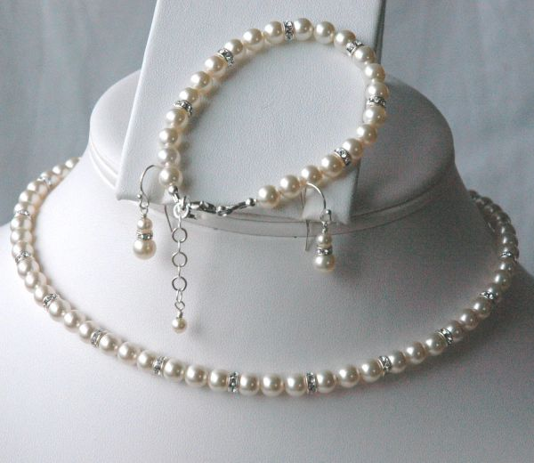 Elegant Swarovski Crystal Pearl and Rondelle Necklace/Bracelet/Earrings SET, Bride Necklace, Bride Bracelet, Bride Earrings, Wedding Jewelry