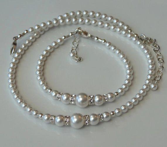 Swarovski Crystal Rhinestone Pearl Round Necklace Bracelet- SET, Bridesmaids Gift Necklace, Flower Girl Necklace, Junior Bridesmaids