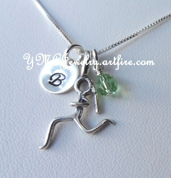 Sterling Silver Runner Girl Necklace, Girl Runner Charm, Runner Necklace, Girl Running Marathon Necklace, Personalized Runner Necklace