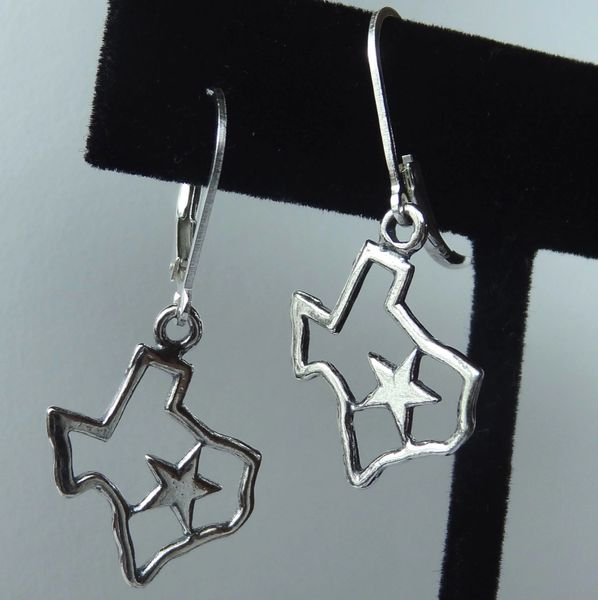 Lone Star Sterling Silver Earrings, Texas Earrings, Map Earrings, Texas Lone Star Earrings