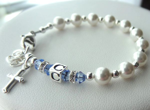 Sterling Silver Baby Baptism Personalized Initial Rosary Children Bracelet, First Communion Confirmation Christening Bracelet