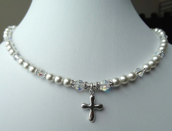 Swarovski Crystal Pearls Cross Charm Children Silver Necklace, First Communion, Confirmation, Baptism, Flower Girls, Pearl Cross Necklace