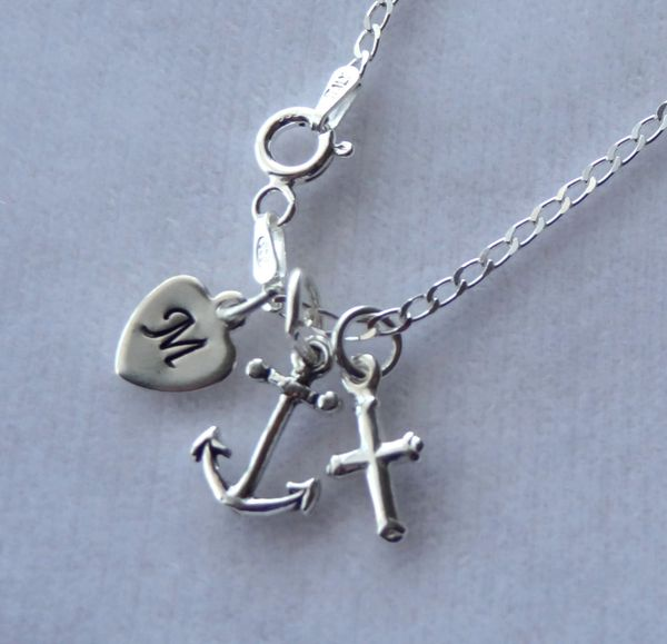 Sterling Silver Heart, Cross and Anchor Charms Necklace, Love, Faith, and Hope Necklace, Initial Necklace, Baptism Necklace, Confirmation
