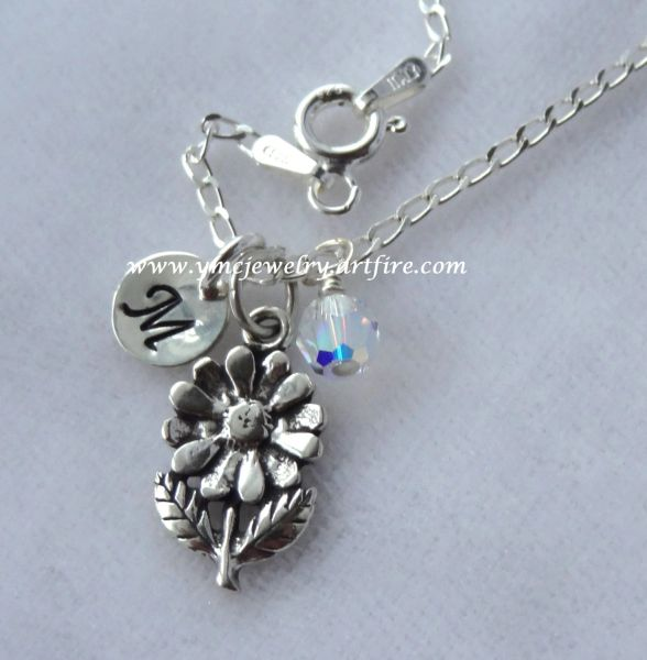 Flower Girl Necklace - Sterling Silver Personalized Flower Daisy Initial Necklace, Birthstone Necklace, Personalized Jewelry