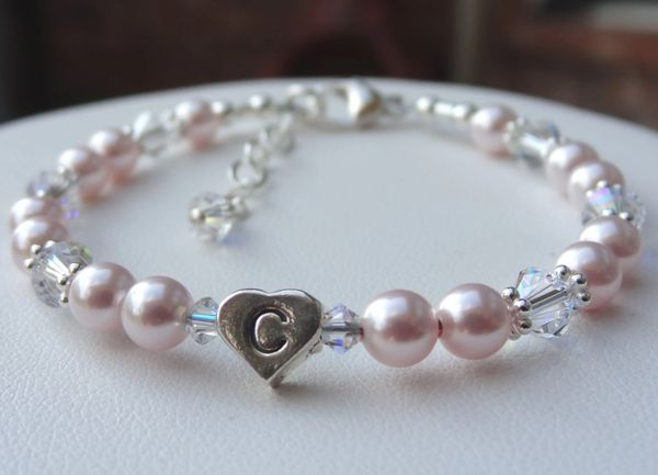 Sterling Silver Heart initial with Swarovski Crystal Pearls Children Bracelet