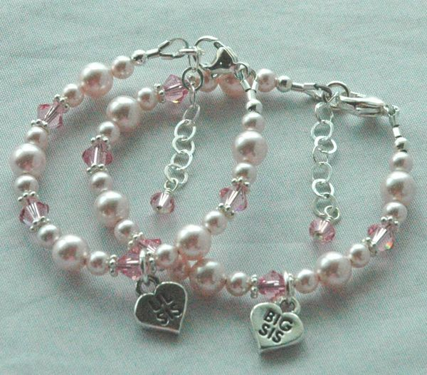 SET TWO Big Sister/Little Sister Child Bracelet, Big Sister Bracelet, Little Sister Bracelet, Lil Sis Charm, Big Sis Charm