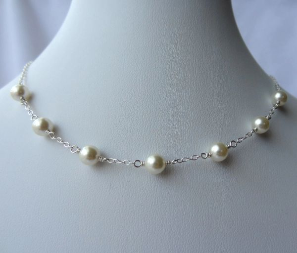 Swarovski Crystal Pearl Necklace, Junior Bridesmaid Necklace, Flower Girl Necklace,Bridesmaid Necklace, Bride Necklace,Confirmation Necklace