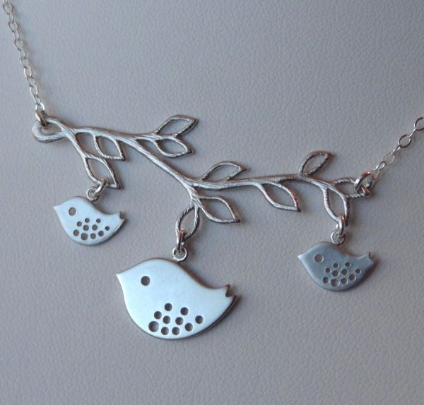 Mommy and Babies Bird Branch Necklace, Bird Necklace, Family Necklace, Mother Jewelry, Birthday, Babyshower gift
