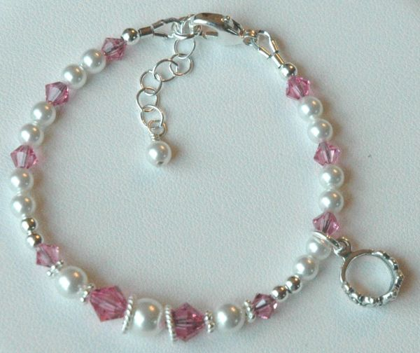 PRINCESS TIARA - Swarovski Crystal Pearls and Pink Crystal Children Bracelet, Flower Girl Bracelet