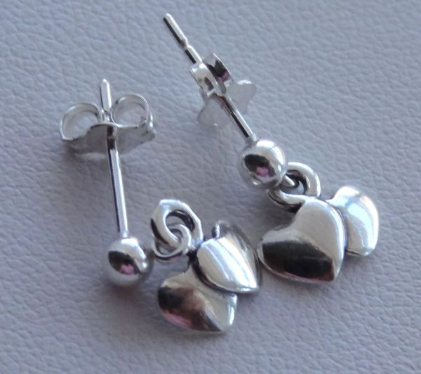Sterling Silver Valentine's Heart Children Earrings, Tiny Dangles, Ball Stud, Post, Heart Earrings, Flower Girl Earrings