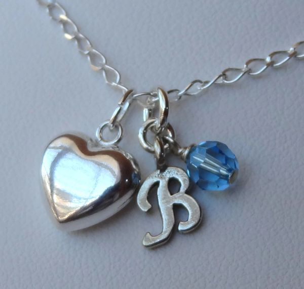 Birthstone Heart Initial Children Girl Necklaces, Initial Monogrammed Necklace, Birthstone Necklace, Flower Girl Necklace